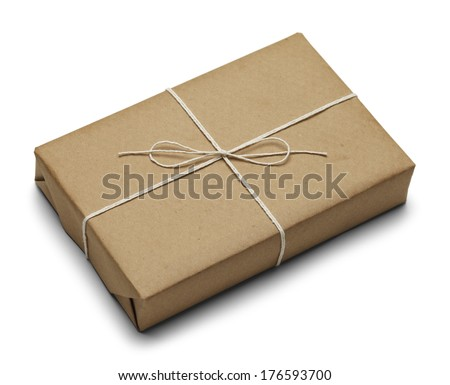 Tied Brown Paper Package With Rope Isolated on White Background. - stock photo