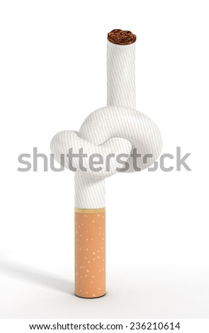 Tied cigarette isolated on white background - stock photo