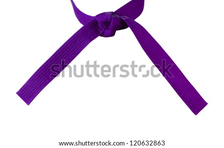 Tied Karate purple belt closeup isolated on white background