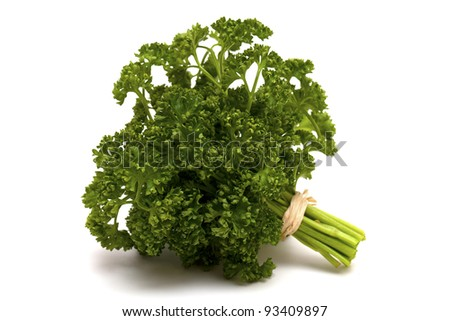tied parsley isolated on white background