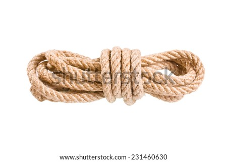Tied with rope isolated on white background