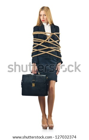 Tied woman in business concept