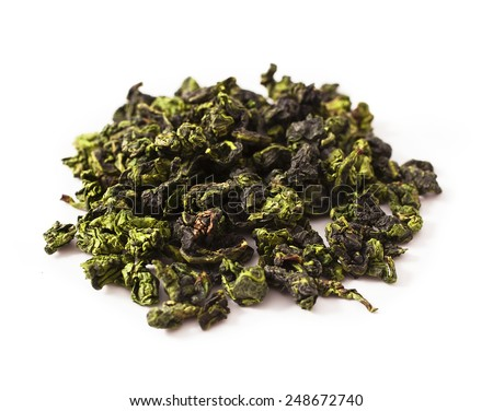 Tieguanyin chinese Oolong tea isolated on white backgroun  - stock photo