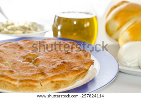 tiella with artichokes and cheese - stock photo
