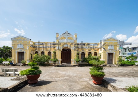 Tien Giang, Vietnam - July 02, 2016: Go Cong ancient town in Tien Giang province is known as a city village built in the architectural style of the ancient Vietnamese towns.
