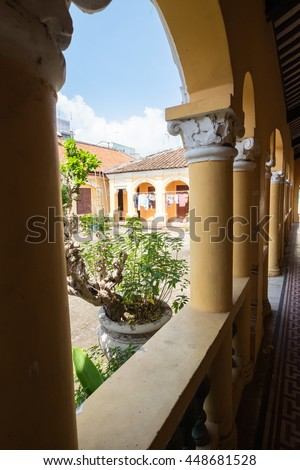 Tien Giang, Vietnam - July 02, 2016: Interiors of Go Cong ancient town in Tien Giang province is known as a city village built in the architectural style of the ancient Vietnamese towns.