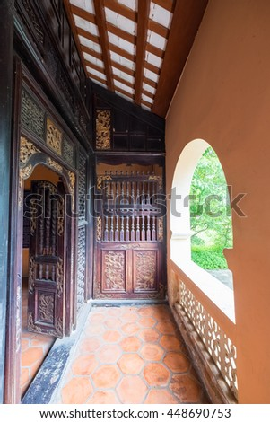 Tien Giang, Vietnam - July 02, 2016: Interiors of Lang Hoang Gia Mausoleum (early 19th century) Mausoleum of Pham Dang Hung, grandfather of Emperor Tu Duc. One of famous attraction of tourism nowadays