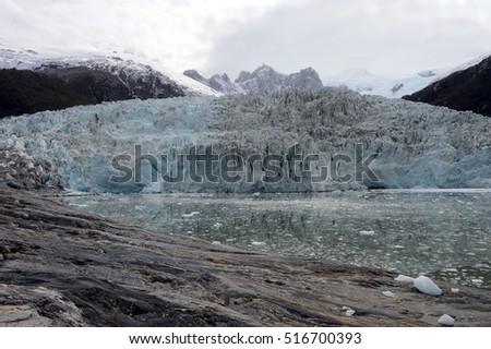 TIERRA DEL FUEGO, CHILE - NOVEMBER 19,2014: Pia glacier on the archipelago of Tierra del Fuego.