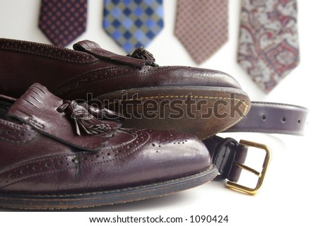 Ties and belt with shoes