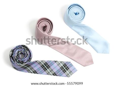 Ties isolated on white bg - stock photo