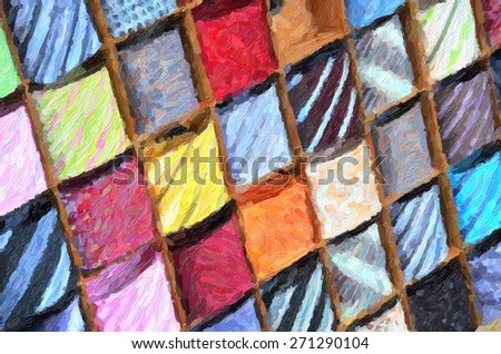 Ties on the shelf. Digital illustration - stock photo