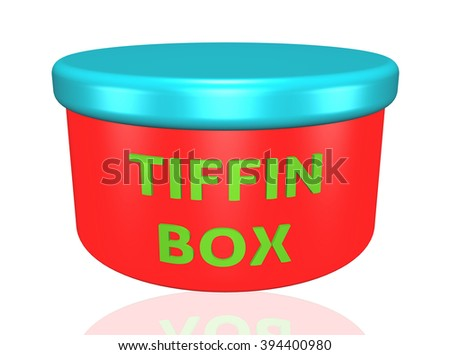 tiffin box words on a box isolated on white background