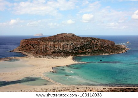 Tigani rock Balos bay on a sunny day in summer - stock photo