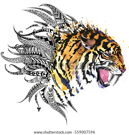 Tiger Animal Head Print For Anti Stress Coloring Page Hand Drawn Illustration Ethnic Ornament
