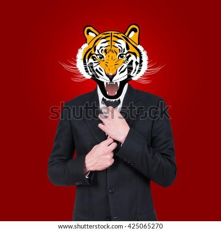 Tiger, businessman character design - stock photo