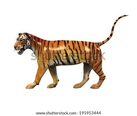 Tiger Figure Isolated - stock photo
