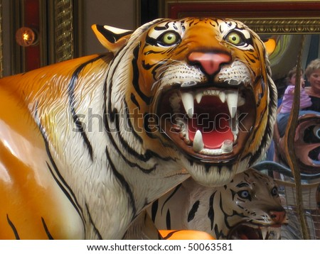 Tiger from Merry Go Round - stock photo