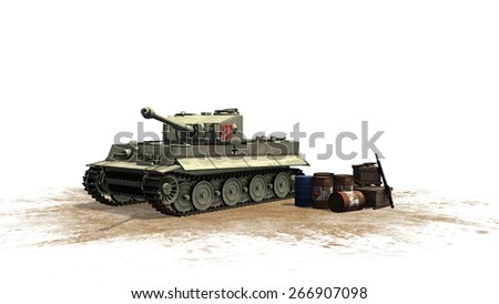 Tiger German Battle Tank - seperated on white background  - stock photo