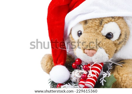 Tiger Plush Christmas with Christmas wreath