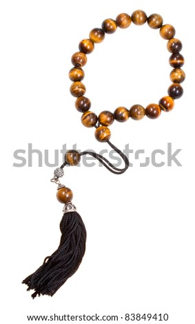 tiger's-eye stone prayer bead isolated on white
