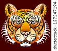 Tiger's face with swirls (round elements). Graphic tiger head front view. Isolated on dark red background - stock vector