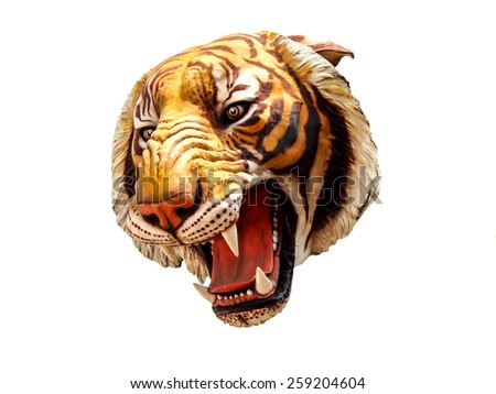tiger sculpture isolated on white background - stock photo