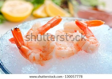 Tiger Shrimp on Ice - stock photo