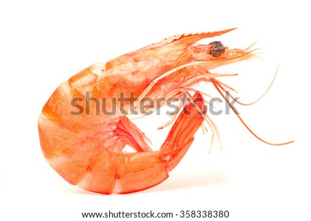 Tiger shrimp. Prawn isolated on a white background. Seafood - stock photo