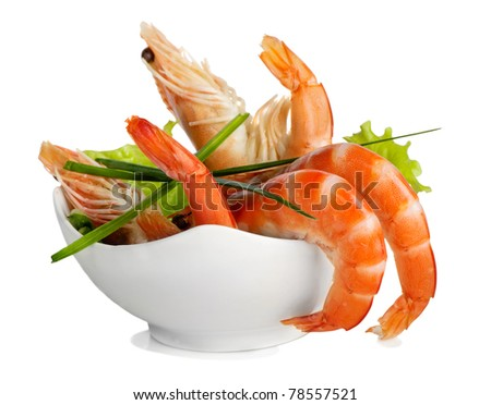 tiger shrimps isolated on white - stock photo