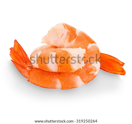 Tiger shrimps. Prawns isolated on a white background. Seafood - stock photo