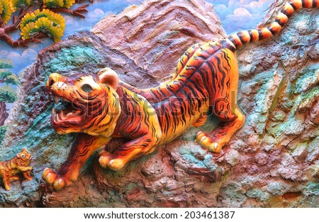 tiger wall in chinese temple