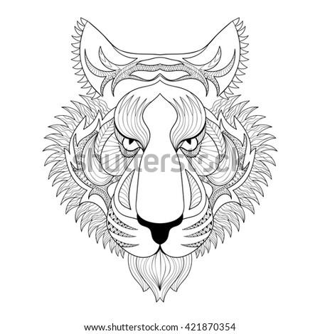 Animal Skull Hand Drawing Boho Style Stock Vector