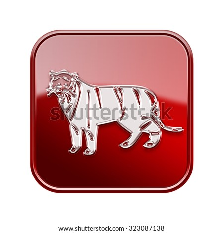 Tiger Zodiac icon red, isolated on white background. - stock photo