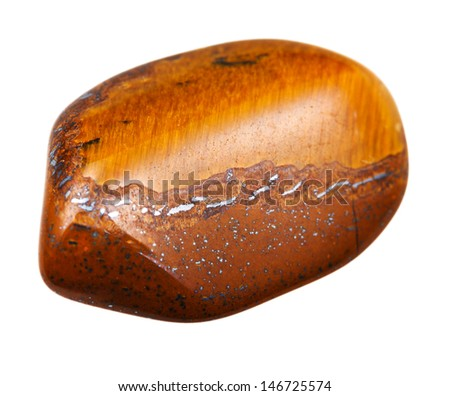 tigers eye mineral pebble isolated on white background