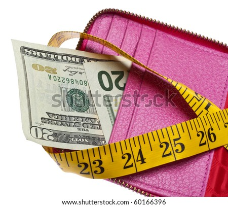 Tight Budget Concept with Open Wallet with Money Squeezed by a Measuring Tape. - stock photo