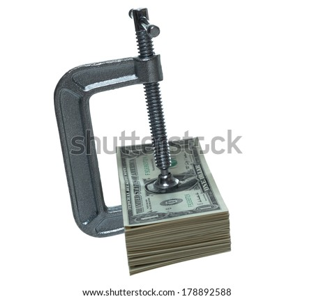 Tight c-clamp on dollars side view - stock photo