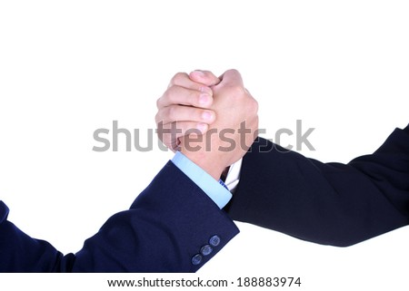 Tight hands ready encouraging, body language - stock photo