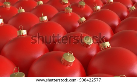 Tightly Packed Array of Red Christmas Decorations. This image is a 3D illustration.