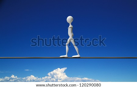 tightrope walker in the sky - stock photo