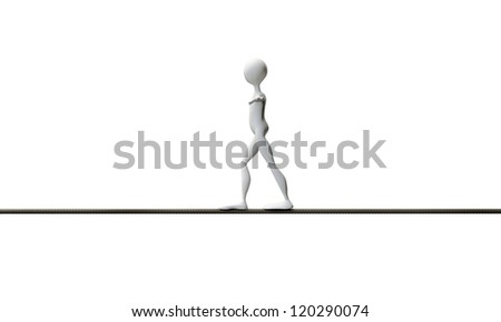 tightrope walker isolated on white background