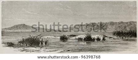 Tigris river near Hamrin, Iraq. Created by De Bar after Lejean, published on Le Tour du Monde, Paris, 1867 - stock photo