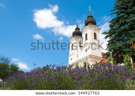 Tihany Abbey with lavenders, Hungary