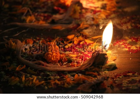 Tihar candle with petals as offering or Blessing for the Hindu festival, Kathmandu, Nepal.
