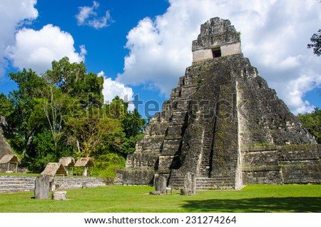 Tikal - Maya Ruins in the rainforest of Guatemala - stock photo