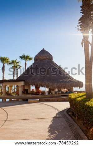 Tiki Hut and Bar overlooking Cortez Sea, Mexico
