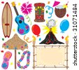 Tiki party elements great for a Hawaiian party!  - stock vector