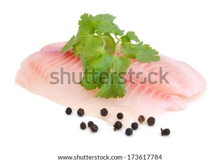 Tilapia fillet, fresh water fish, isolated on white background  - stock photo