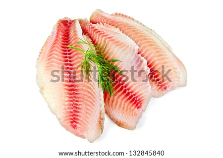 Tilapia fillets with dill isolated on a white background - stock photo