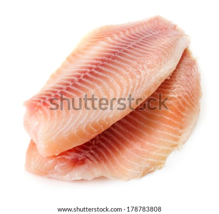 Tilapiini fillet on white background - stock photo