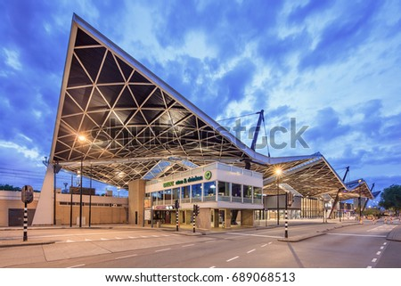 TILBURG-AUGUST 1, 2017. Central Railway Station Tilburg at dawn. The shape of the roof (1965) by architect Koen van der Gaast (1923-1993) makes it one of the most iconic stations of the Netherlands.